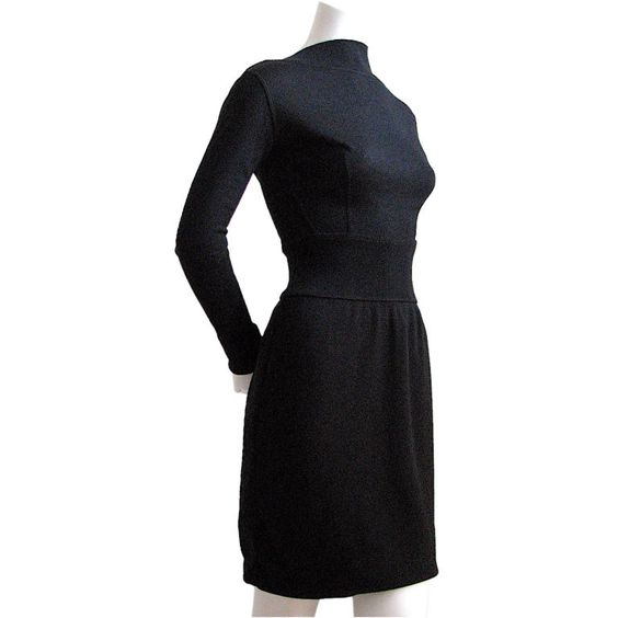Vintage AZZEDINE ALAIA plunging back jet black dress