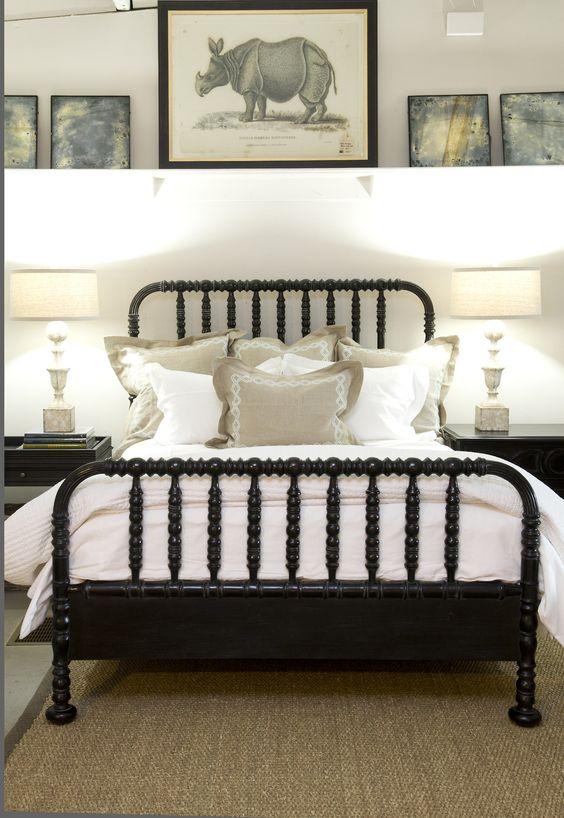 black spool bed, gallery shelf