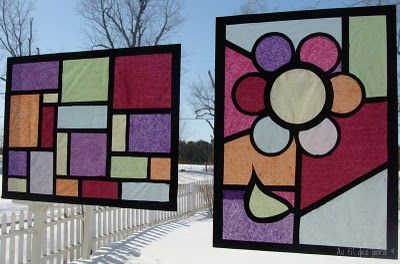 Au fil des jours: ''Faux '' vitrail  stained glass made with tissue paper, construction paper.