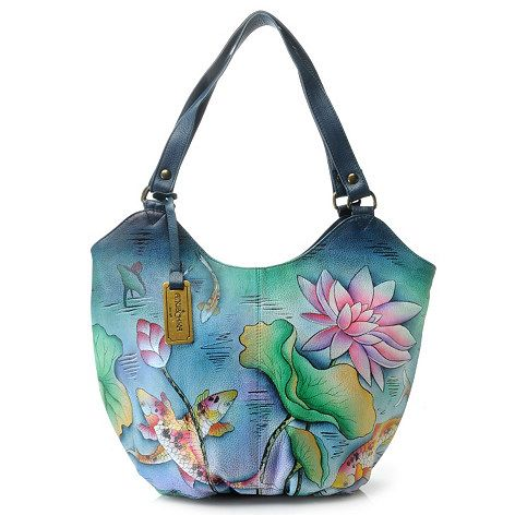 Anuschka Handbags Clearance Prices | ... 516 - Anuschka Hand-Painted Leather Double Handle Ruched Hobo Handbag: