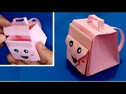 صنع أشياء بالورق كيفية صنع محفظة مدرسية صغيرة من الورق Education Container