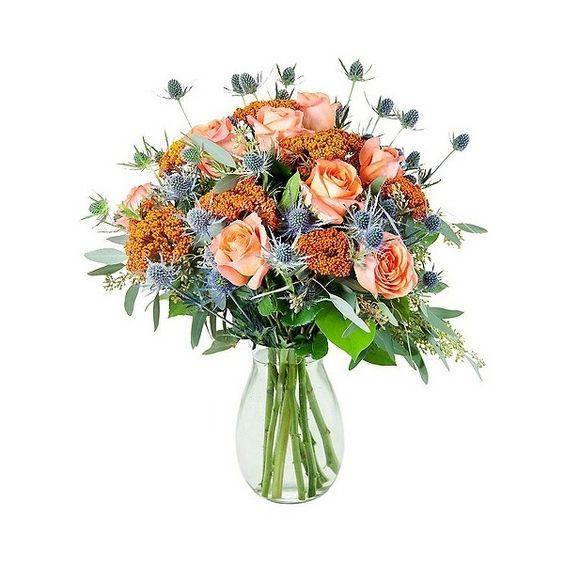 KaBloom Portland Orange Rose Mix Fresh Flower Arrangement (67 CAD) ❤ liked on Polyvore featuring home, home decor, floral decor, orange rose bouquet, rose arrangement, orange bouquet, rose home decor and orange home accessories