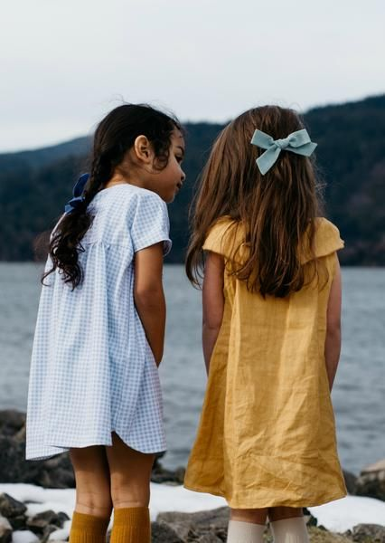 "Click to shop handcrafted oversized schoolgirl bows by Wunderkin Co. The perfect hair bow to embolden your baby's, toddler's or little girls free spirit and individual style. Handmade by moms in the USA and guaranteed for life. // ""Duck Egg"" and ""Bluebird"" Oversized Schoolgirl Bow."