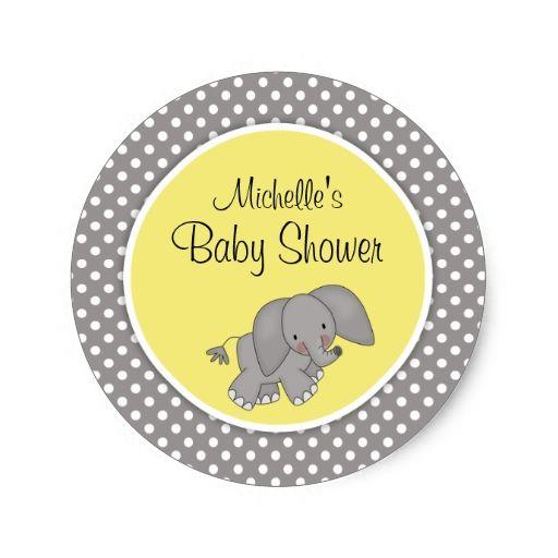 Cute Yellow Elephant Gender Neutral Baby Shower Classic Round Sticker