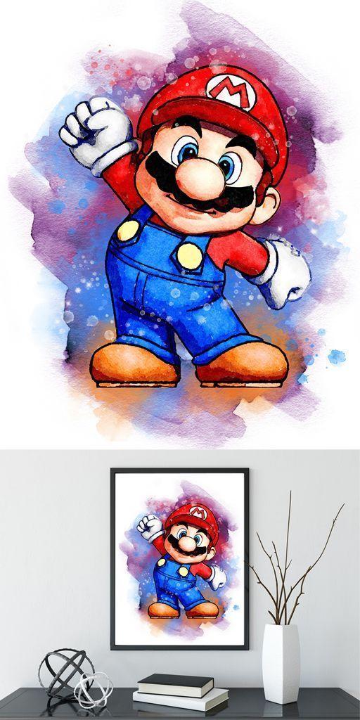 Super Mario Bros Kunstposter Mario Print Videospiel Nintendo Poster Mario Wat Kunstposter Mario Nintendo Print Super Mario Art Mario Super Mario