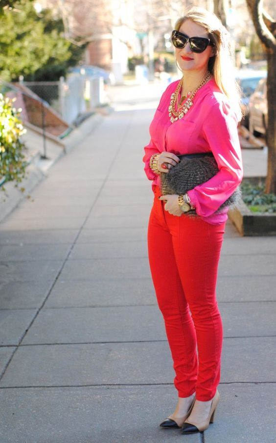 Red and hot pink