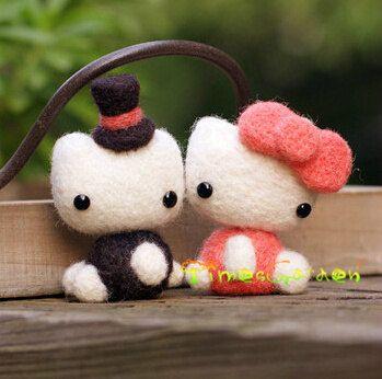 Hello Kitty Felt Wool Animal Japan Anime One Couple by TimesGarden