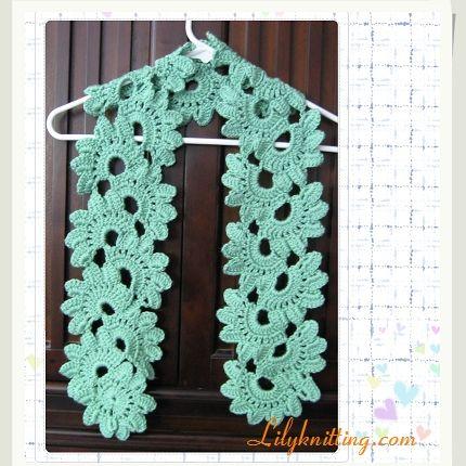 PATTERN – Crocheted Flower Scarf – Scarf 2