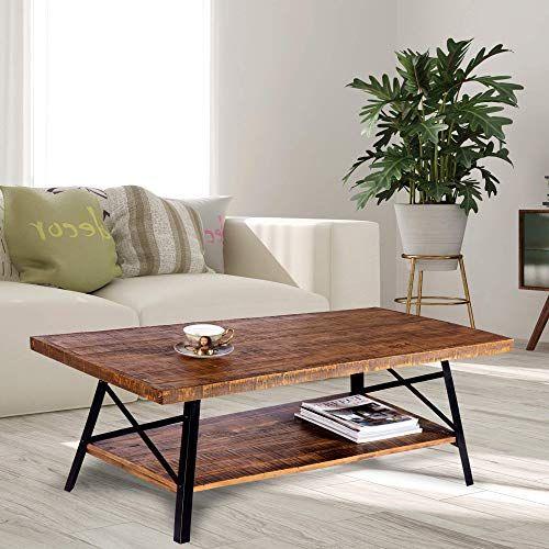 New Olee Sleep 46 Cocktail Wood Metal Legs Coffee Table Rustic Brown Online In 2020 Furniture Rustic Table