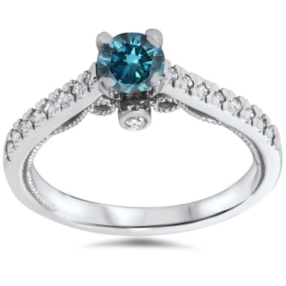 Vintage .65 Ct Blue Diamond Engagement Ring Antique Filigree Deco 14K White Gold by Pompeii3 on Etsy https://www.etsy.com/listing/193575788/vintage-65-ct-blue-diamond-engagement