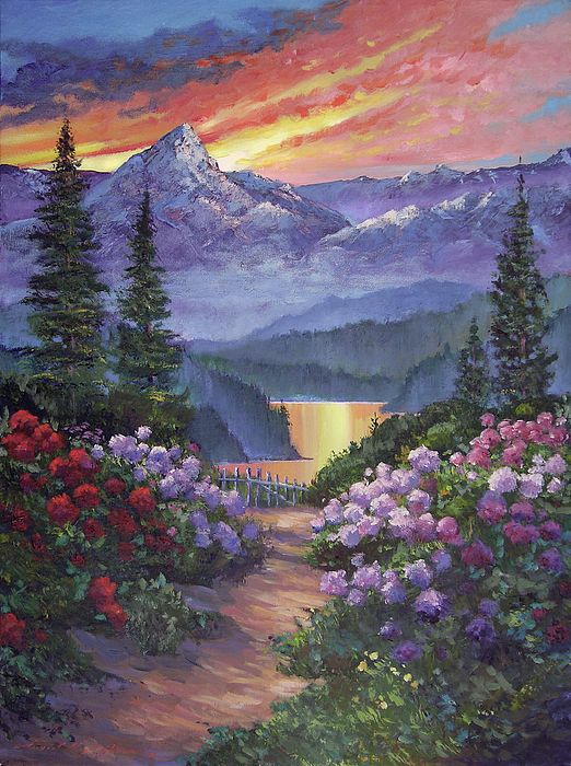 Mountain Garden Path By David Lloyd Glover Mountain Landscape Painting Mountain Paintings Landscape Paintings