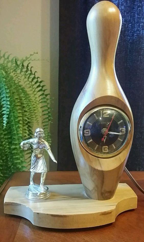 Woman's Bowling Trophy Clock Woman Bowler Made in USA Vintage MCM in Sports Mem, Cards & Fan Shop, Vintage Sports Memorabilia, Other Vintage Sports Mem | eBay