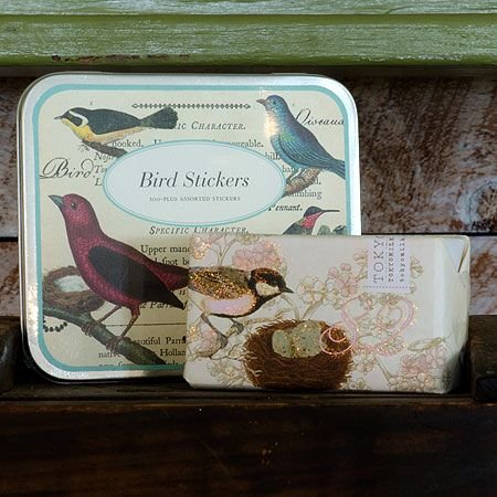 Nature Lovers Gift. Tokyo Milk no. 82 Shea butter soap blends green apple, bamboo and white musk. Lovely with Italian label stock bird stickers by Cavallini. $35, free shipping in the US.