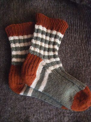 Dorset Boot Socks made by the Yarn Harlot. Love the stripes.