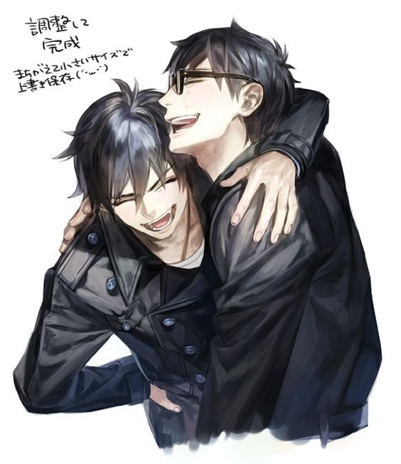 I love this picture. This is how siblings should be. Yay for Rin and Yukio for having a good brotherly relationship! :D: