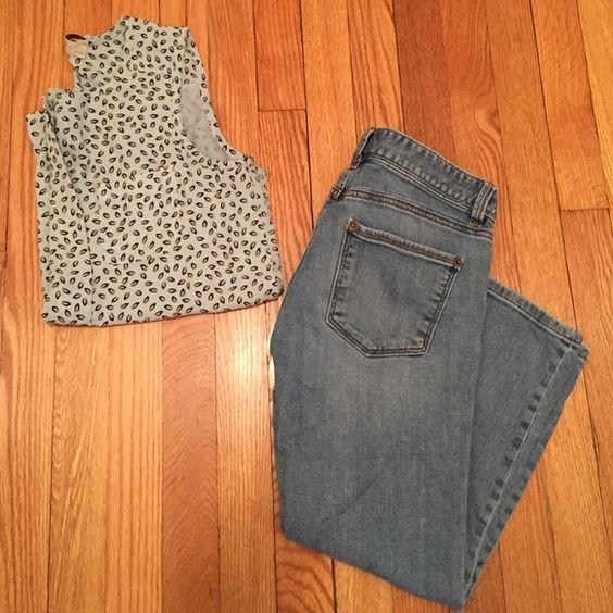 """Loft modern crop jeans These have been gently worn and in really great condition. 99% cotton and 1% spandex. Front and back pockets. Belt loops. Button and zip fly. Inseam about 22"""". This is a pretty denim wash. Great for the summertime.  LOFT Jeans Ankle & Cropped"""