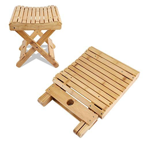 Cocoarm Bath Stool Bamboo Folding Shower Stool Seat Foldable Shaving Shower Foot Rest Stool Bathroom Chair Bathing Spa Sto Folding Stool Folding Chair Foot Rest