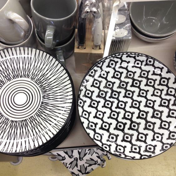 Vaisselle ethnique monoprix noir et blanc arts de la table pinterest - Monoprix art de la table ...
