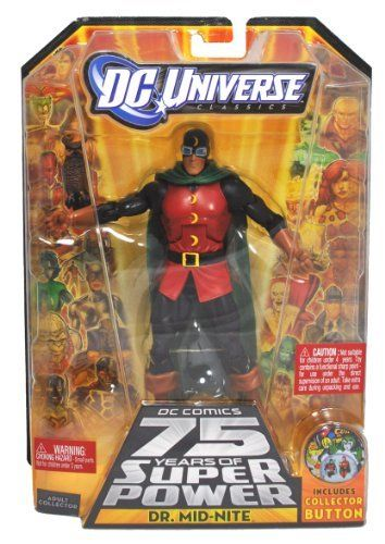 "DC Comics 75 Years of Super Power Wave 12 Classics Series 6 Inch Tall Action Figure #4 - DR. MID-NITE with Pet Owl ""Hooty"" and Darkseid's Left Arm Plus Bonus Collector Pin (R5780)"