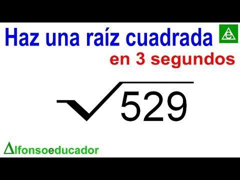 Haz Una Raíz Cuadrada Exacta En 3 Segundos Youtube Raiz Cuadrada Matematicas Interactivas Matematicas