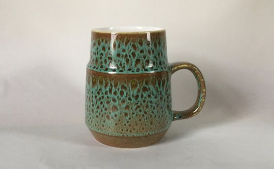 Poole Pottery Sea Crest 1 Pint Tankard 1960s. Green by Eddystone