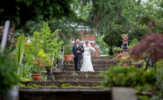 Oatlands Historic House & Gardens- the bride makes her grand entrance; beautiful outdoor garden ceremony. Lovesome Photography- See more on Borrowed & Blue!