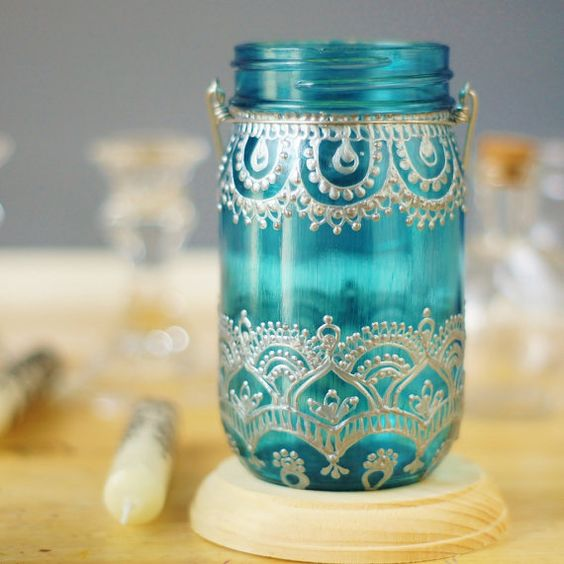 Mason Jar Lantern Moroccan Inspired Teal Glass with by LITdecor
