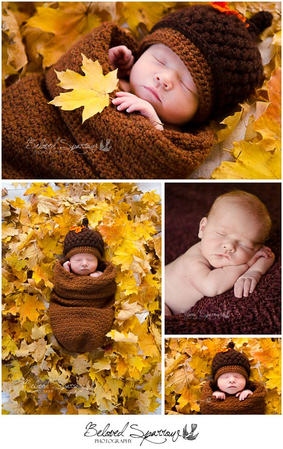 Fall Newborn Photo Ideas | Crocheted Acorn Outfit | Fall Leaves | Autumn Newborn Portrait | Newborn Professional Photographer in Peachtree City | Atlanta Newborn Photographer www.belovedsparrow.com