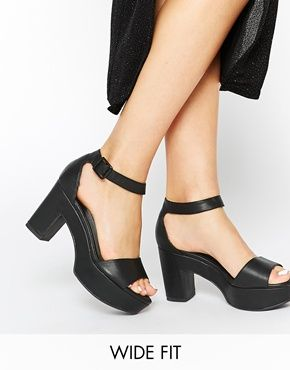 Enlarge New Look Wide Fit Tiny Black Heeled Sandals | Shoes ...
