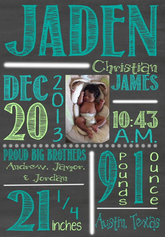 Custom Chalkboard Birth Announcement – Chalkboard Birth Announcement