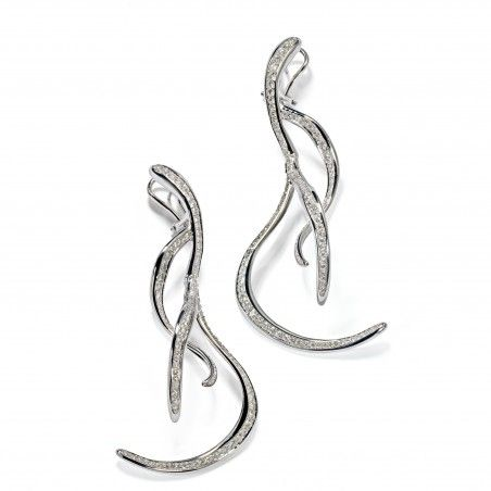 VULCANO collection Extra-large earrings in white gold and diamonds