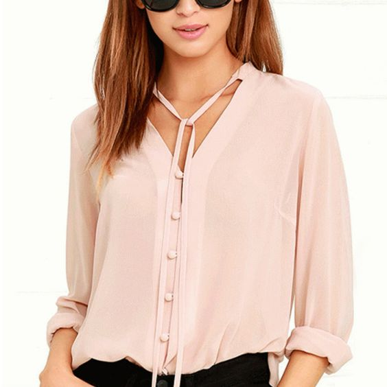 2017 Solid Color Fashion Women Shirts Single Breasted V Neck Long Sleeve Blouse Casual Brief Style Female Chiffon Shirt #Affiliate