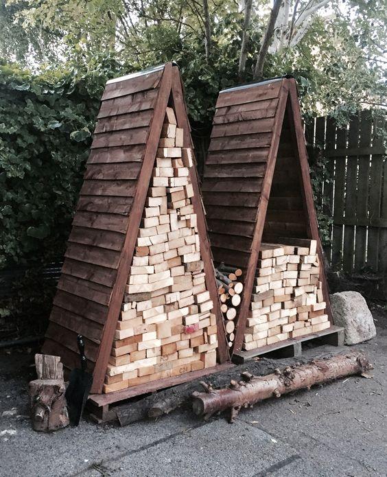 firewood with triangular design #fireWoodStorage #firewoodrack #firewood #firewoodideas #organization #shed