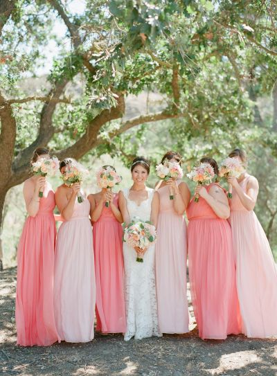 Ombre blush and pink bridesmaids dresses