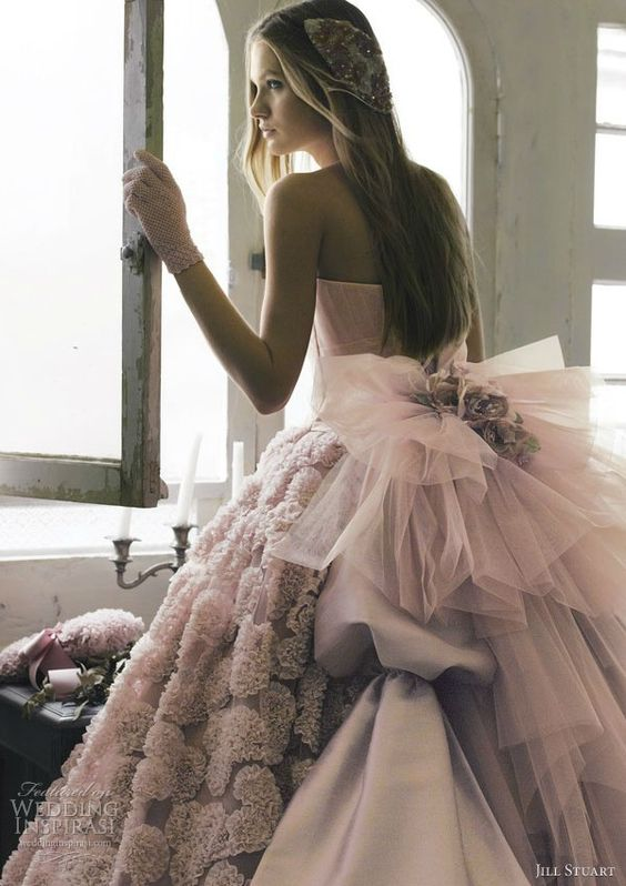 #JillStuart pink wedding dress - GORGEOUS!!! #BridalGown