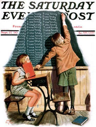 """""""I Was Tardy""""...Sat Eve Post Cover ILL.  by  Alan Foster (1892 –1969)"""