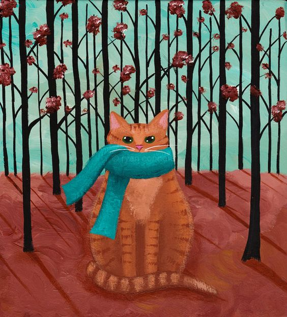 'Autumn Ginger Cat in a Scarf'  Original Folk Art Painting by 'KilkennycatArt' on Etsy♥≻★≺♥: