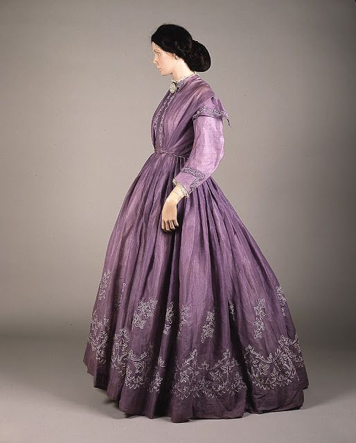 Lilac-colored tamboured muslin day dress from the 1860s, probably made in Glasgow, Scotland.