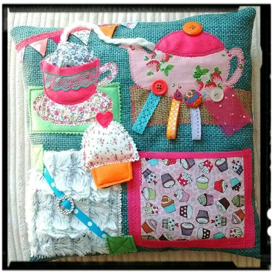Sensory Activity Cushion/ Pillow - Ideal For People With Dementia/ Alzheimers - time for tea This handmade cushion has been designed to help soothe and relax people with dementia. It provides lots of different textures and age appropriate attachments to explore, providing