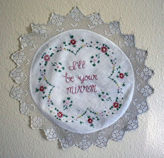 I'll be your mirror  Hand embroidery on vintage by doublespeak, $35.75
