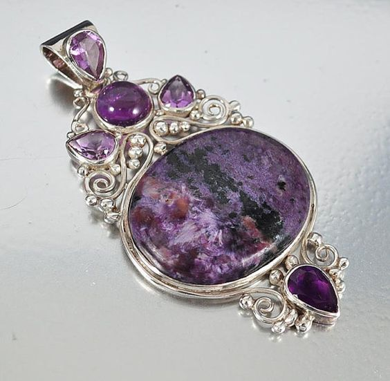 Sterling Silver Amethyst Necklace Pendant Large Statement Necklace Vintage Jewelry