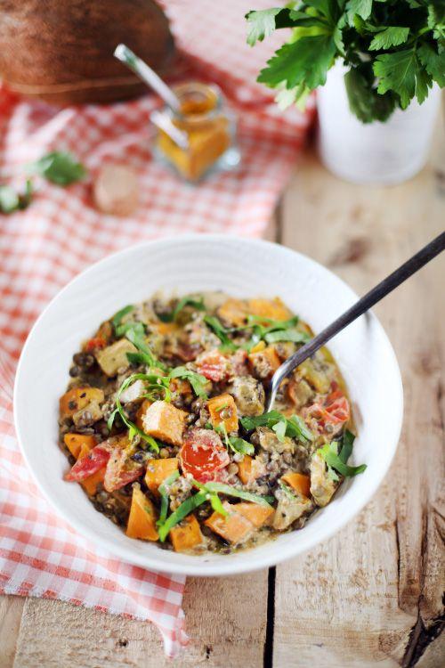 Dahl de lentilles vertes, aubergine et patate douce