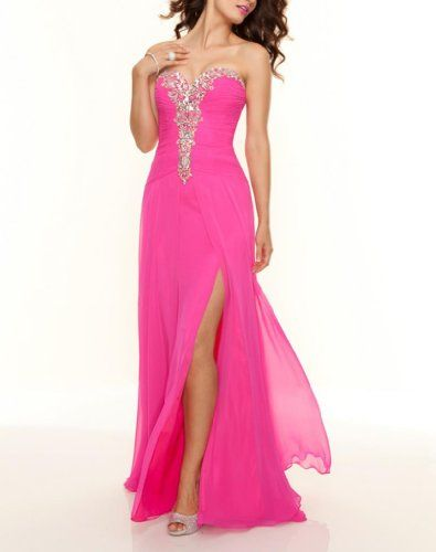 Dearta Women's Sheath Sweetheart Sweep Train Chiffon Prom Dresses US 16 Pink  - Click image twice for more info - See a larger selection of prom dresses at http://girlsdressgallery.com/product-category/prom-party-dresses/ - woman, girls, junior dresses, girls dresses, teenager, girls fashion, womens fashion, gift ideas, dresses,special occasion dresses , night dresses, party dresses, gown