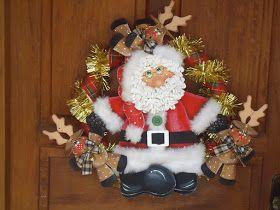 Qmimos - Fazendo Arte brincando: Guirlanda Papai Noel com as renas