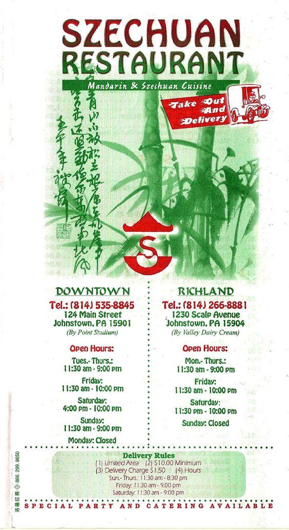 Szechuan Chinese Restaurant Johnstown Pa