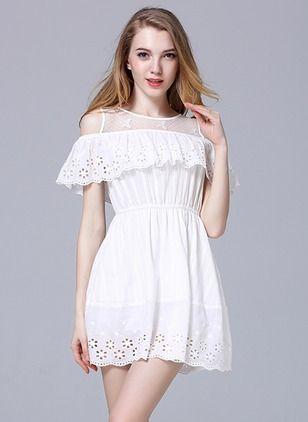 Little White Dress-Cotton Solid Short ...