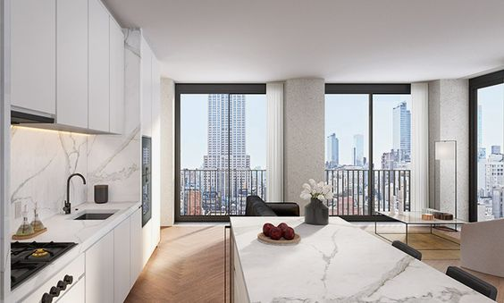 british architect david chipperfield has revealed more details of 'the bryant', a new residential tower to be built in central manhattan. situated above a boutique hotel at 16 west 40th street, the project is set to be constructed on bryant park's last available site for new-builds. the condominium is being developed by real estate investment firm HFZ capital group.