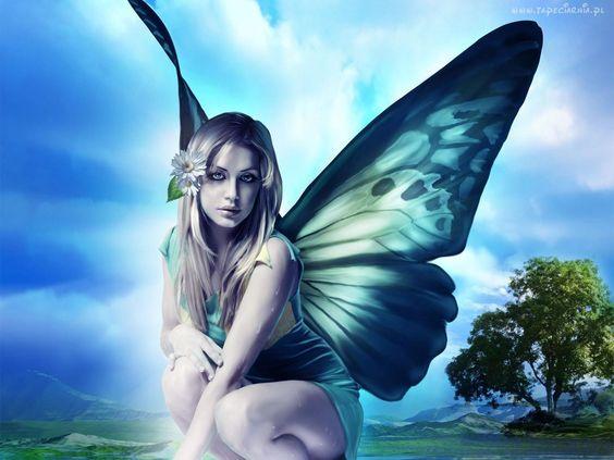 Dziewczyna, Anioł, Niebieskie, Skrzydła