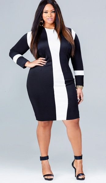 20 Plus-Size Black and White Dresses - Gorgeous women- Manche and ...