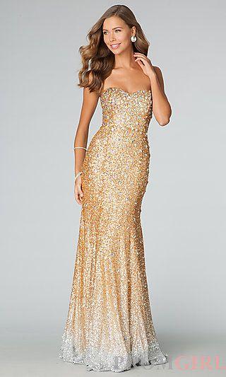 JVN by Jovani Floor Length Strapless Sweetheart Sequin Dress at ...